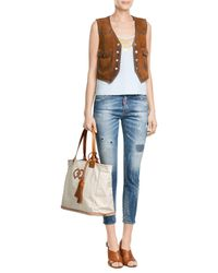 DSquared² | Natural Cotton Tote With Leather | Lyst