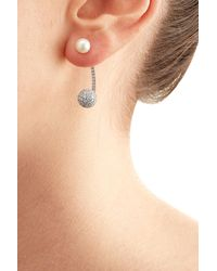 Delfina Delettrez | Metallic 19kt White Gold Sphere Earring With Diamonds And Pearl | Lyst