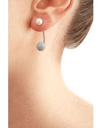 Delfina Delettrez | Metallic 19kt White Gold Sphere Earring With Diamonds And Pearl | Lyst