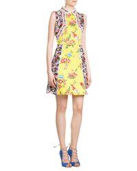 Mary Katrantzou | Yellow Printed Silk-cotton Dress | Lyst