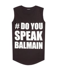 Balmain - Printed Cotton Tank - Black - Lyst