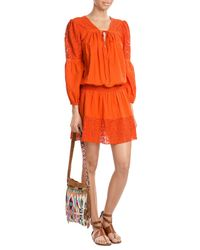 Christophe Sauvat - Natural Cotton Dress With Lace - Lyst