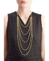 Pippa Small   Metallic Gold Plated Silver Necklace With Lapis   Lyst