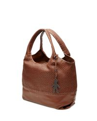 Henry Beguelin | Leather Tote With Woven Panel - Brown | Lyst