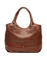 Henry Beguelin - Leather Tote With Woven Panel - Brown - Lyst