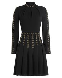 Valentino - Black Embellished Dress With Silk - Lyst