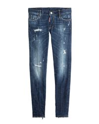 DSquared² | Blue Distressed Skinny Jeans | Lyst
