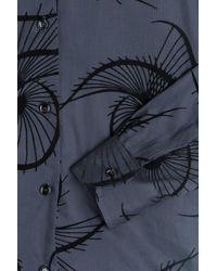 Agnona | Blue Cotton Shirt With Velvet Appliqué | Lyst