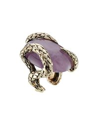 Roberto Cavalli | Metallic Statement Ring With Semi-precious Stone | Lyst