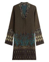 Etro - Green Wool-alpaca Intarsia Knit Jacket - Lyst
