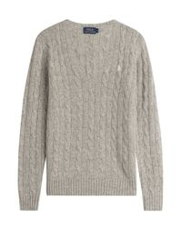 Polo Ralph Lauren | Gray Cable Knit Wool Pullover With Cashmere - Grey | Lyst