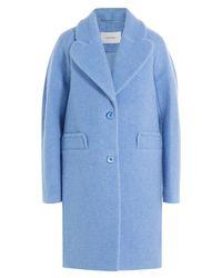 Carven - Blue Coat With Heart Lapels - Lyst