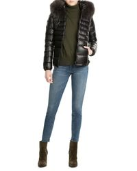 Duvetica | Black Down Jacket With Fur-trimmed Hood | Lyst