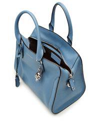 Alexander McQueen | Blue Grainy Calf Leather Small Padlock Zip Around Shoulder Bag | Lyst