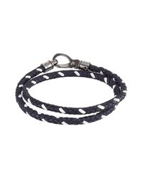 Tod's | Blue Braided Leather Wrap Bracelet for Men | Lyst