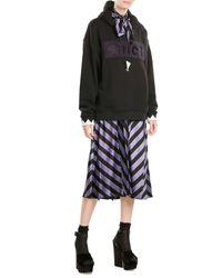 Alexander Wang | Black Printed Cotton Hoody With Embellished Ties | Lyst