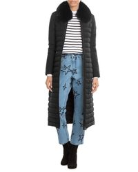 Peuterey | Black Quilted Down Coat With Fox Fur Collar | Lyst
