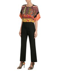 Etro | Black Printed Silk Blouse With Fringes | Lyst