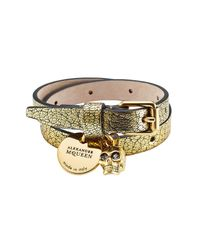 Alexander McQueen | Metallic Double Wrap Leather Bracelet With Charms | Lyst