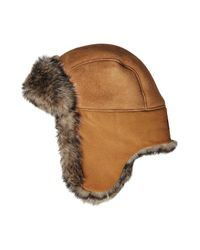 Ugg - Brown Leather Trapper Cap With Shearling Lining for Men - Lyst