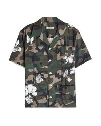 Valentino - Black Printed Cotton Camouflage Shirt for Men - Lyst