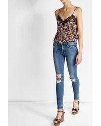 FRAME   Blue Distressed High-rise Skinny Jeans   Lyst