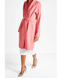 Max Mara | Pink Belted Virgin Wool Coat | Lyst