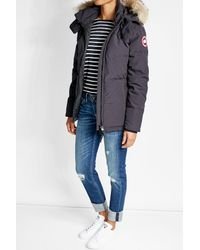Canada Goose | Black Chelsea Down Filled Parka With Fur-trimmed Hood | Lyst
