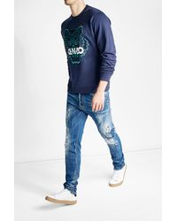 KENZO | Blue Embroidered Cotton Sweatshirt for Men | Lyst