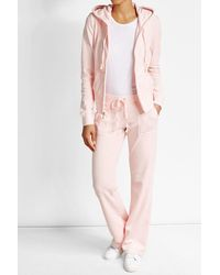 Juicy Couture | Pink Straight Leg Velour Track Pants | Lyst