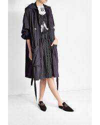 DKNY | Black Zipped Coat With Hood | Lyst