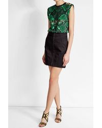 Balmain - Black Printed Cotton Tank With Embossed Buttons - Lyst