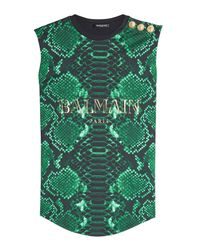 Balmain | Black Printed Cotton Tank With Embossed Buttons | Lyst