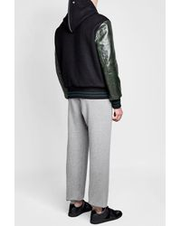 Maison Margiela - Black Wool And Calf Leather Hooded Bomber Jacket for Men - Lyst