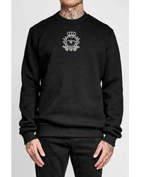 Dolce & Gabbana - Black Cotton-blend Sweatshirt With Emblem Motif for Men - Lyst