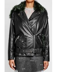 Sandy Liang - Black Leather Jacket With Shearling - Lyst