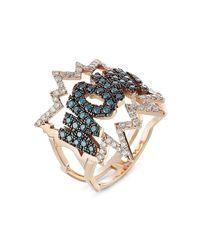 Diane Kordas | Metallic Wow! 18kt Rose Gold Ring With Diamonds | Lyst
