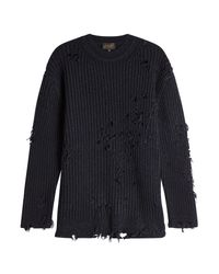 Yeezy - Black Distressed Pullover With Wool for Men - Lyst