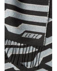 KENZO - Gray Printed Wool Scarf - Lyst