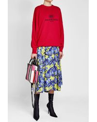 Balenciaga - Red Oversized Pullover With Virgin Wool And Cashmere - Lyst