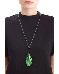 Aurelie Bidermann - Green 18kt Gold Swan Feather Necklace - Lyst
