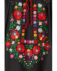 Muzungu Sisters - Embroidered Cotton Top - Black - Lyst