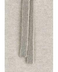 Brunello Cucinelli | Gray Cashmere Pullover With Embellishment - Grey | Lyst