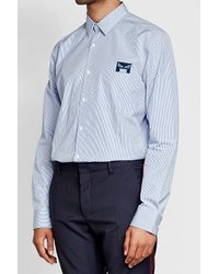 Fendi - Blue Embroidered Cotton Shirt for Men - Lyst