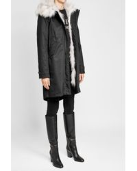 Woolrich - Blue Cotton Parka With Fur-trimmed Hood - Lyst