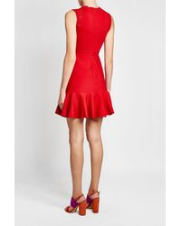 Giambattista Valli - Red Dress With Lace And Fluted Hem - Lyst