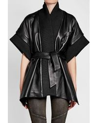 Balmain - Black Leather Coat With Ribbed Trims - Lyst