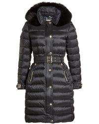 Burberry - Black Down Coat With Fur-trimmed Hood - Lyst