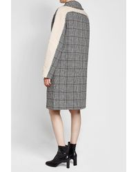 Carven - Gray Printed Wool-blend Coat With Faux Shearling - Lyst