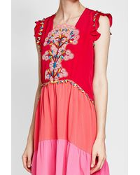 Peter Pilotto - Red Silk Dress With Embroidery - Lyst